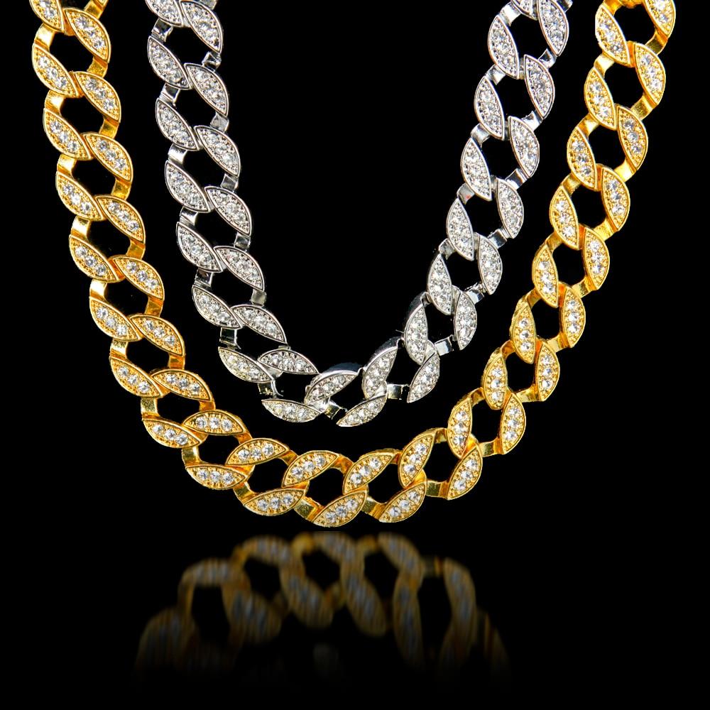 Uwin Full Iced Out Rhinestones Kalung Lelaki Warna Perak Kuba Link - Perhiasan fesyen - Foto 2