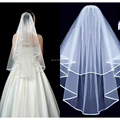White Ivory Bridal Veil Bridal Veil Bridesmaid Bride Wedding Veil Tulle with Comb Ribbon Edge 2 Layers simple cheap
