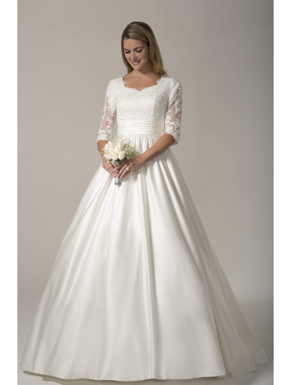 modest wedding gowns with 3 4 sleeves