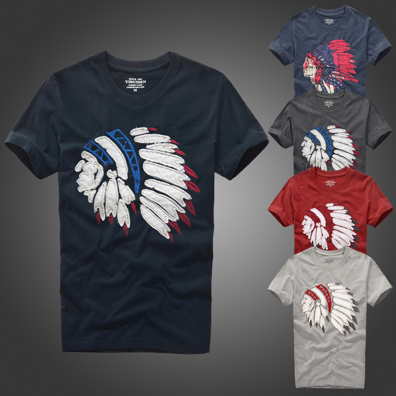 Causal t shirt af men tees with Indians Character avatar pattern size S to XXXL