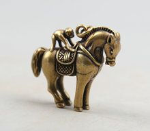 46MM/1.8Collect Curio Rare Chinese Fengshui Small Bronze Exquisite Animal 12 Zodiac Year Monkey Ride Horse Pendant Statuary 31g