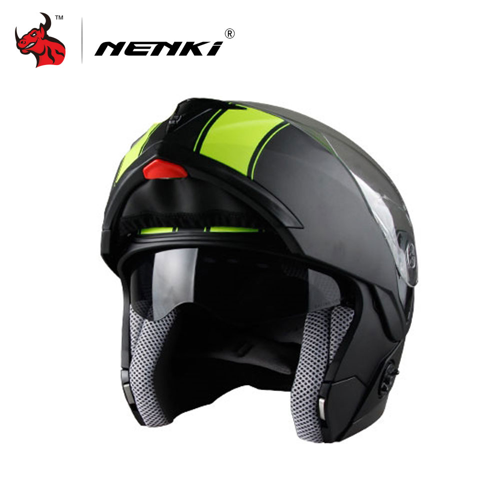 NENKI Motorcycle Helmet Flip Up Full Face Racing Helmets double lens Motorbike Helmets Capacete De Moto L /XL /XXL nenki motorcycle helmets motocross racing helmet motorbike full face helmet capacete de moto for men and women 13 color