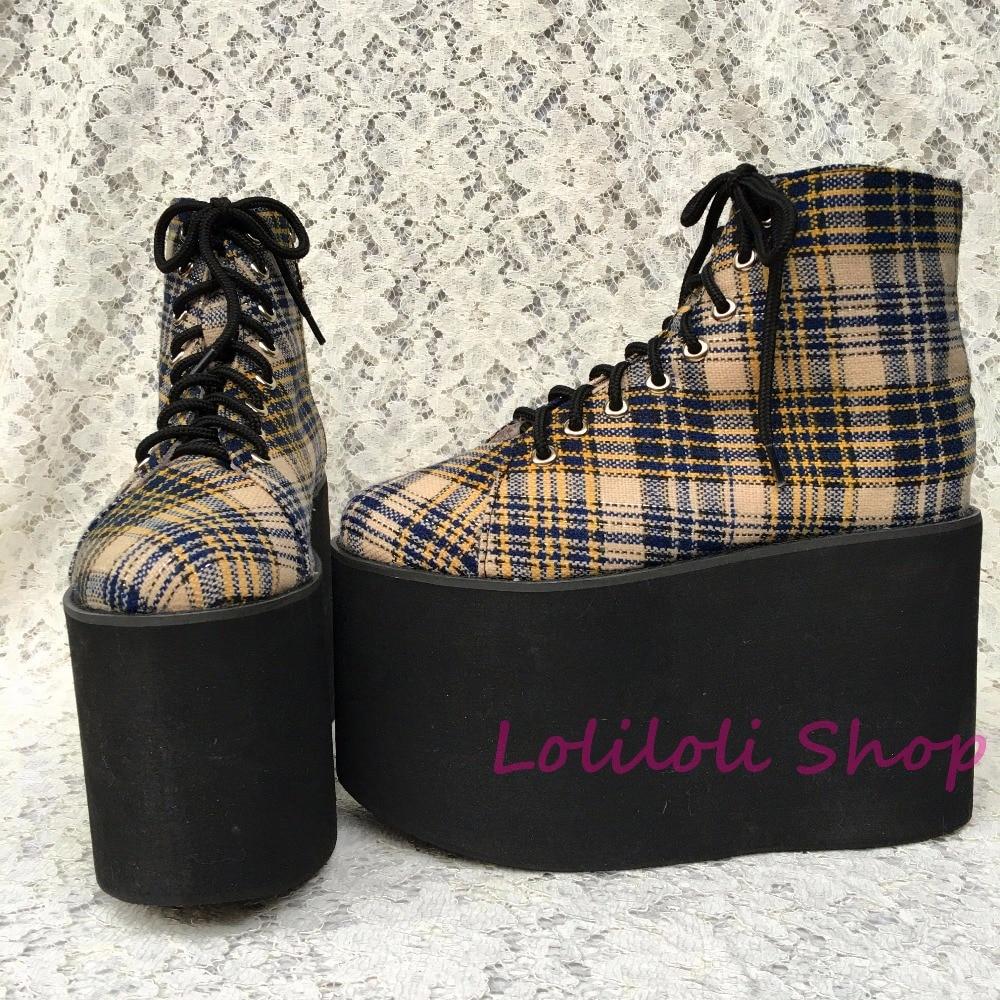 Chaussures Personnalisé Sangle Personnalisée Chaussures Tissu 1381n Clair Pour Semelle Punk Treillis multi À Plate spécial forme Grandes En 4R5q3jcAL