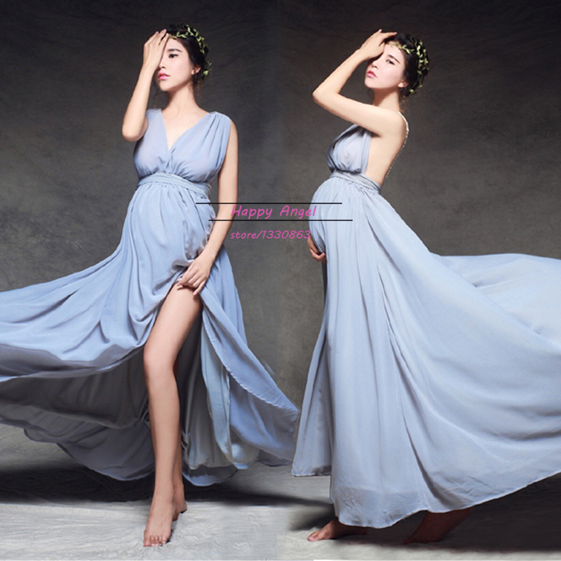 Maternity Women Fashion Photography Props Elegant Long Maxi Gown Backless  Lace Dress Fancy Baby Shower Party