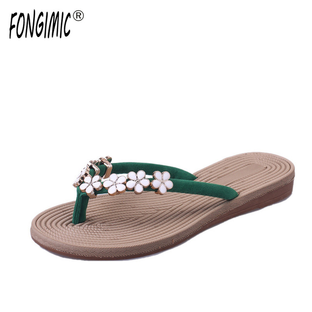 ad6a87181 Fongimic Hot Sale Flip Flops Woman Shoes Women New Summer Style Shoes High  End Beach Slippers Ladies Floral Vacation Pantufas