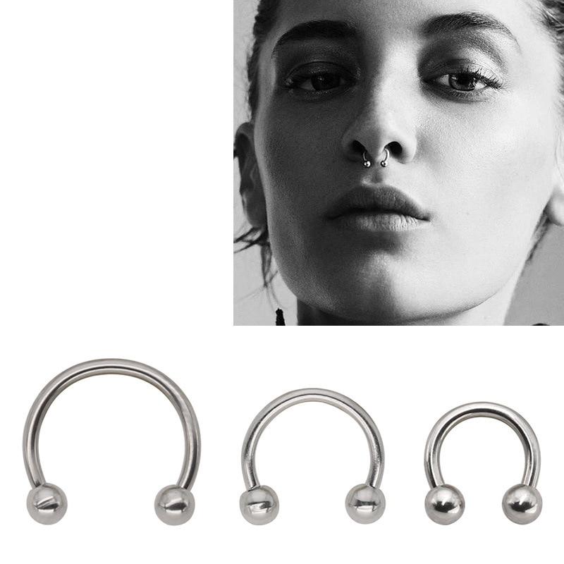 Misananryne Stainless Steel Fake Lip Ring C Clip Nose Ring