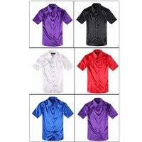 New Fashion Mens Slim Fit Dress Silk Satin Groom Shirts Formal Casual Shirt