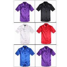 New Fashion Mens Slim Fit Dress Silk Satin Groom Shirts Formal Casual Shirt