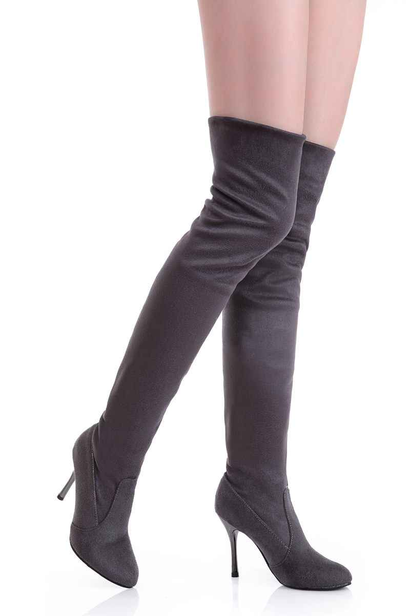 MORAZORA Plus ขนาด 34-43 ใหม่แฟชั่นรองเท้าเข่ารองเท้าผู้หญิงรองเท้าส้นสูงฤดูใบไม้ร่วง pointed toe flock สีดำบางสูงรองเท้า