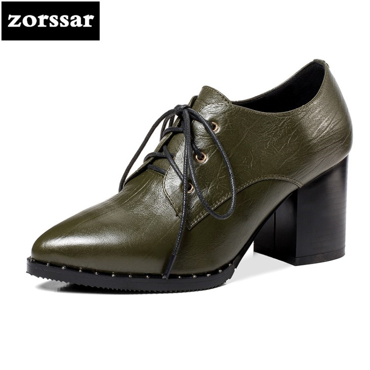 {Zorssar} 2018 New Genuine Leather womens heels pumps Lace up thick heel pointed toe High heels fashion women Dress shoes zorssar 2018 new genuine leather fashion women shoes high heels platform pumps thick heel round toe mary jane womens shoes