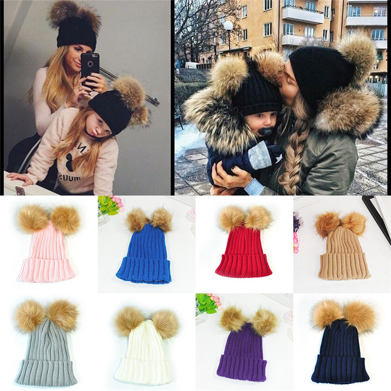 2017 Brand New Toddler Infant Newborn Baby Girls Boys Winter Warmer Wool Fur Kids Cap Pompom Ball Baby Knitted Hat Onesize