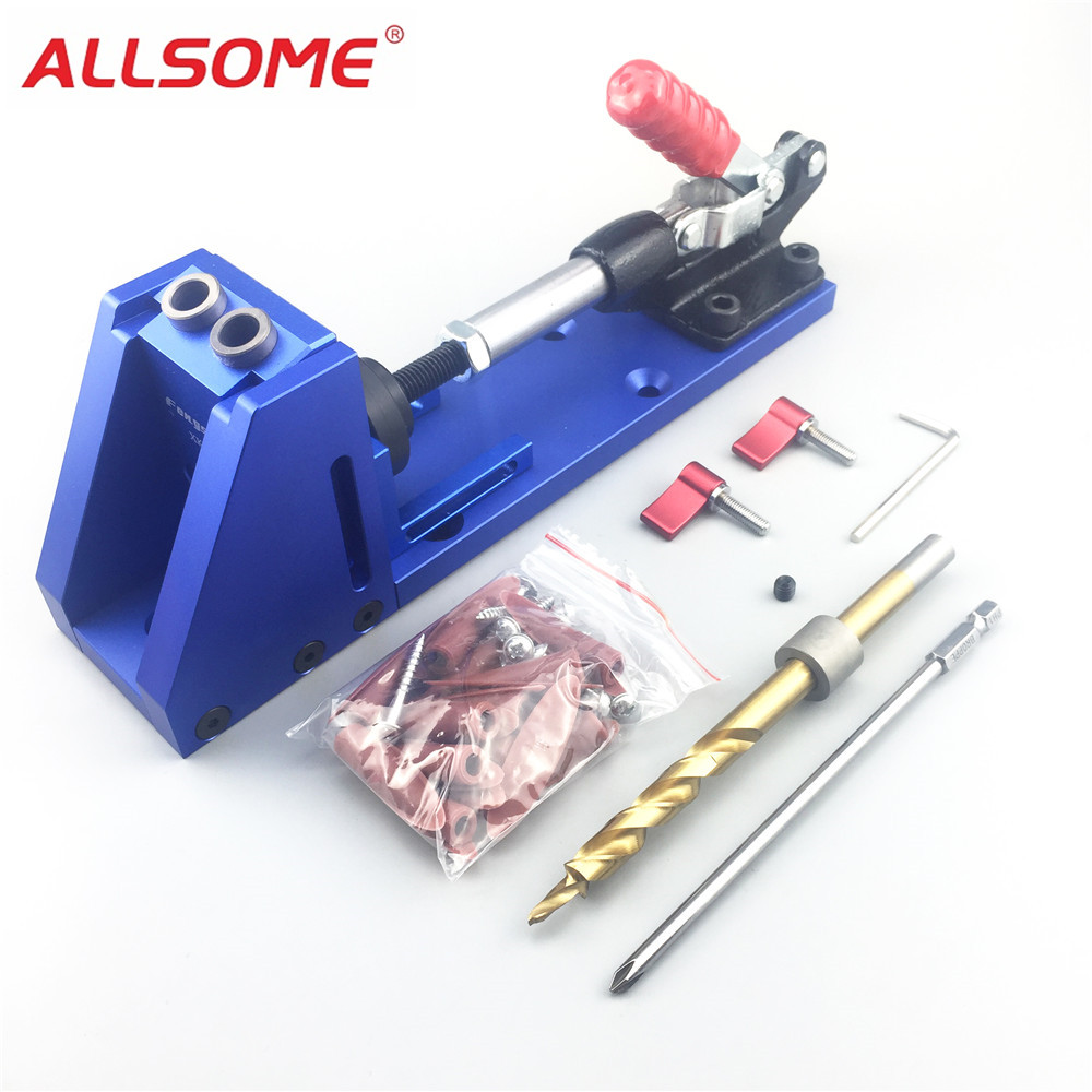 ALLSOME Portable Pocket Hole Jig Kit System With PH1 Screwdriver 9.5mm Drill Bit Set For Carpenter WoodWorking Hardware Tools jelbo cone step drill hole tools countersink 3pc drill bit set power tools step drill bit for metal power tools set hole cutter