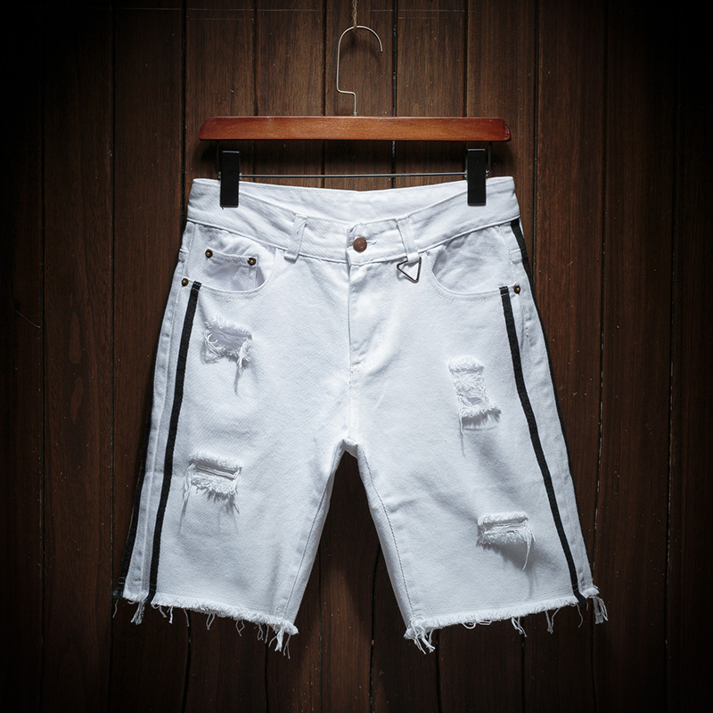 Men Holes White Denim Shorts New Fashion Summer Men Cotton Short Jeans Men Stretches Casual Denim Shorts