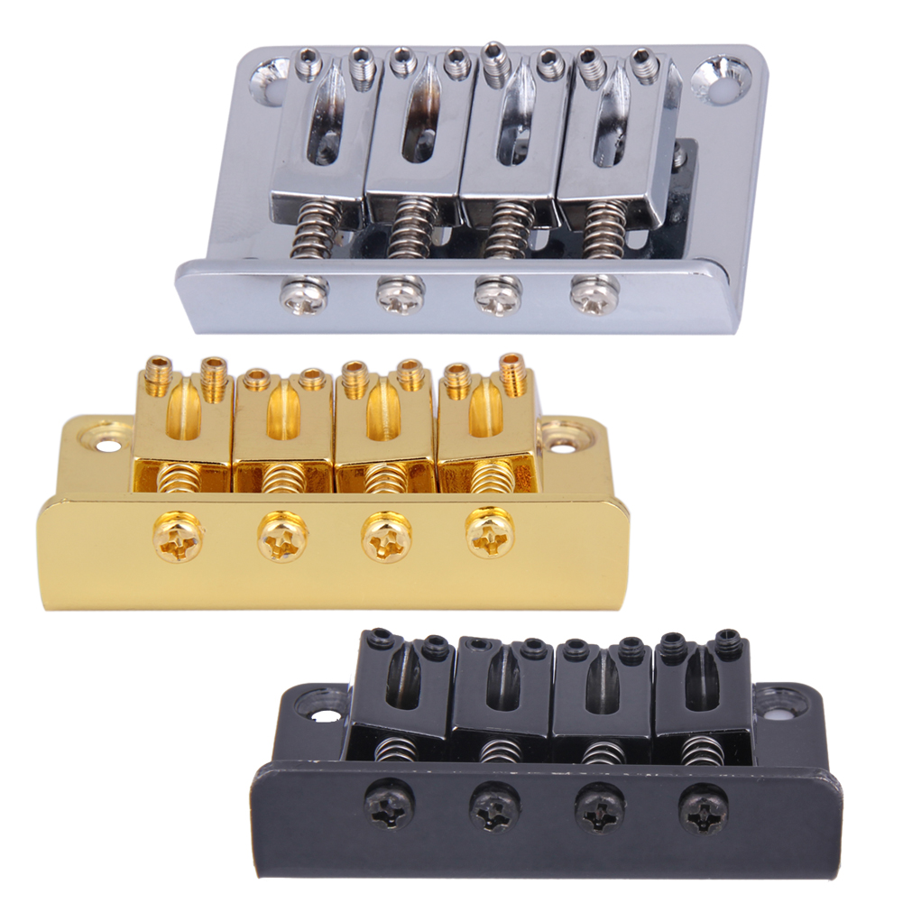 Chrome 4 String Vintage Bass Bridge untuk Electric Bass Guitar Ukulele Black / Silver / Golden Guitar Parts and Accessories