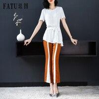 FATU Women Summer Casual Cotton O neck 2018 New Short Sleeve Tops & Pant Two Piece Set Women's Costumes Female Office Suit Set