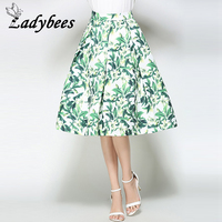 LADYBEES Women Midi Skirts Green Leaves Floral Printed Retro High Waist Princess Pleated Skirt 2017 Summer
