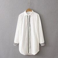 Dioufond Women White Blouse Female Solid Long Shirt Cotton Turn Down Collar Fashion Women Long Sleeve