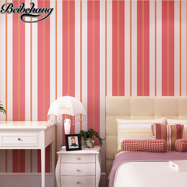 beibehang Mediterranean striped fabric bedroom wallpaper red blue ...