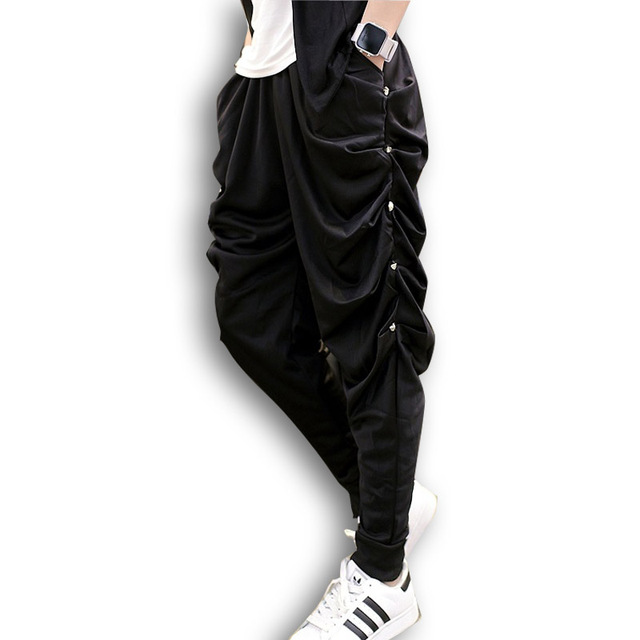 Fold Rivets Men Harem Pants Male Fashion Casual Loose Long Sweatpant Punk Gothic Stage Clothing Pencil Pants