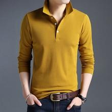 Top Grade New Fashion Men Polo Shirt Solid Color Slim Fit Polo Men Long Sleeve Mercerized Cotton Casual Polos Shirt Mens M-4XL