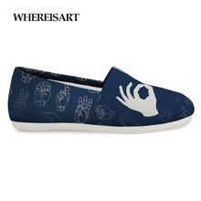WHEREISART Fashion Casual Shoes Men Hand Sign Print Loafers Shoes Man Slip on Canvas Shoes Men Breathable Flats Sneakers 2019 e lov design printing canvas shoes nation flags of austria hand printed austriak austrian loafers shoes