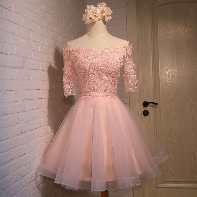 pearl pink tulle prom dress