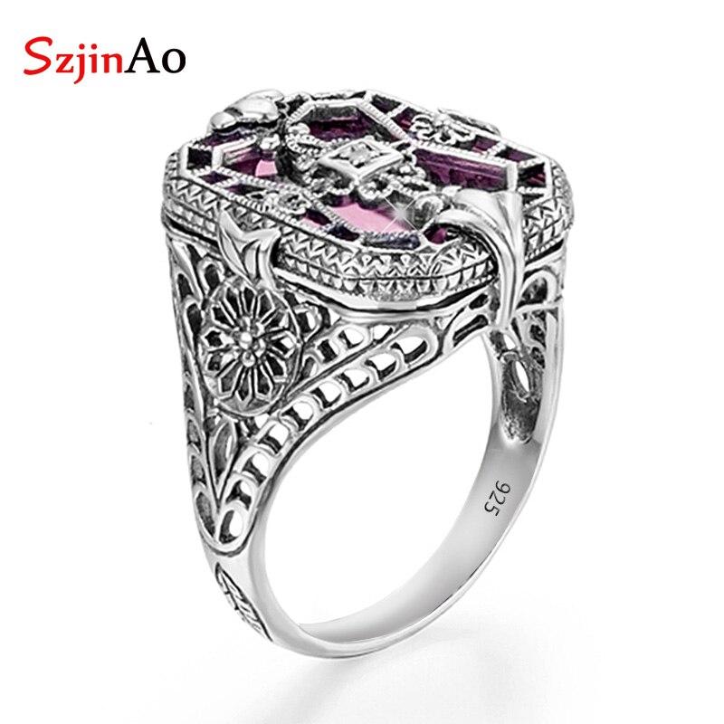 SzjinAo anneaux en cristal rose faits à la main pour les femmes décembre anniversaire solide 925 en argent Sterling bague de mariage bijoux de fête