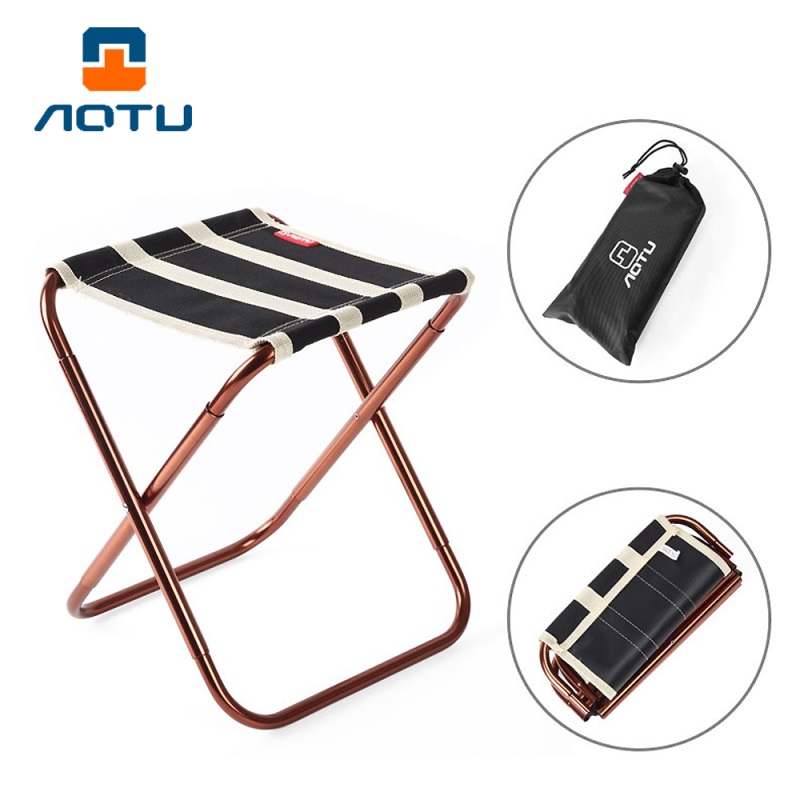 AOTU AT6751 Collapsible Seat Durable Portable Folding Chair Camping Stool  Ultralight Compact Camp Footrest Stool