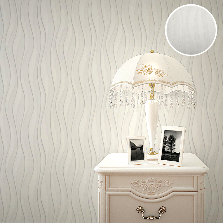 3D Embossed Paintable Wallpaper Solid Color Wave Striped Wall Paper For  Ceiling And Bedroom Decor In