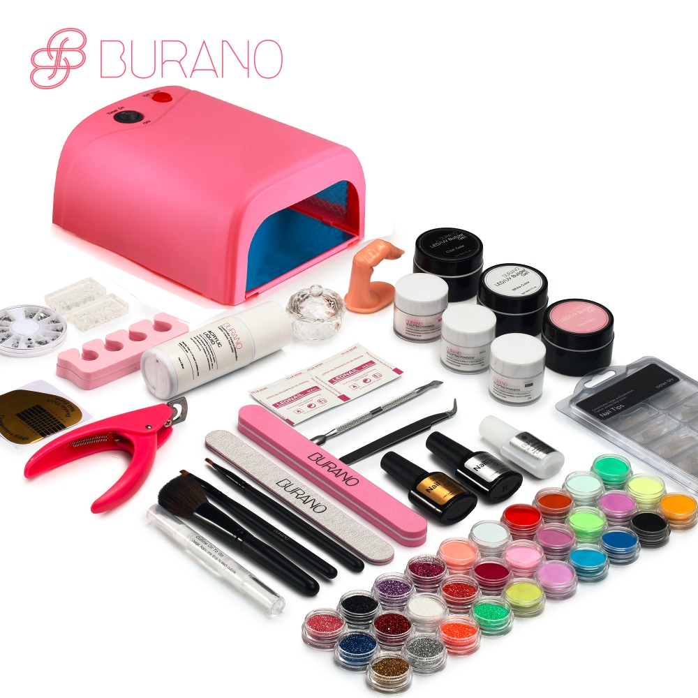 Burano Acrylic Powder & Liquid UV/LED nail lamp Dryer acrylic nail art set acrylic nail kit set with lamp nail tools set 011