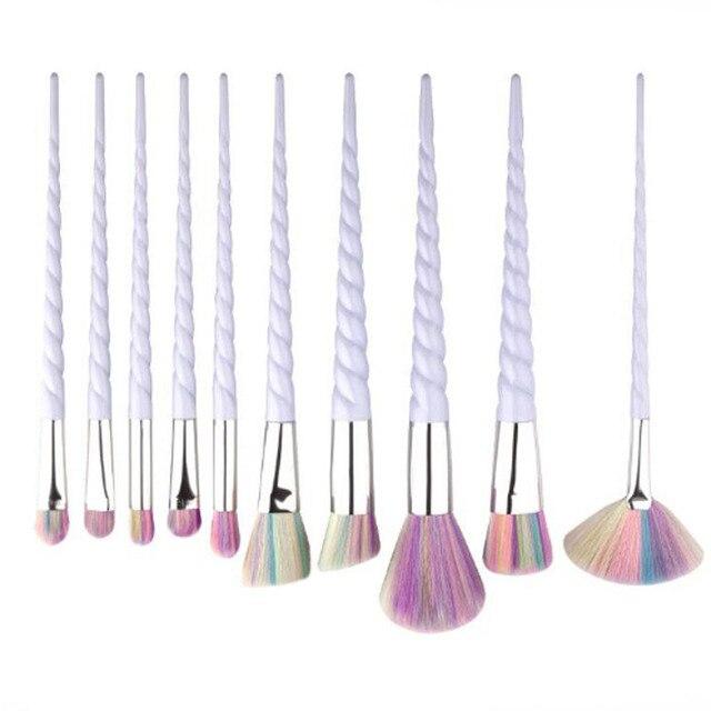 10 Pcs Professional Makeup Brush Set Unicorn Rainbow Diamond Face & Eye Powder Foundation Eyebrow Make Up Brush Kit Tools BBP 1