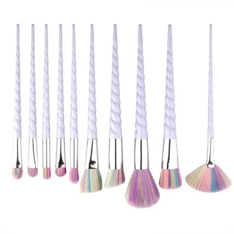 10 Pz Trucco Professionale Brush Set Unicorn Arcobaleno Diamante Faccia & occhio Fondotinta In Polvere Sopracciglio Make Up Brush Kit Tools BBP