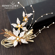 HIMSTORY Handmade Bridal Hairpins Wedding Hair Accessories Headdress Pearl Jewelry Women Crystal Beads Hair Accessory Hairgrips phoenix wedding hair jewelry chinese style handmade red crystal bridal jewelry animal headdress tassels hair accessories