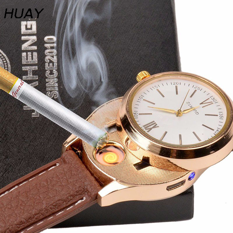 2018 New Lighter Watches for men USB Charging sports Casual Quartz watch fashion hot Flameless Cigarette Lighter clock JH319-2