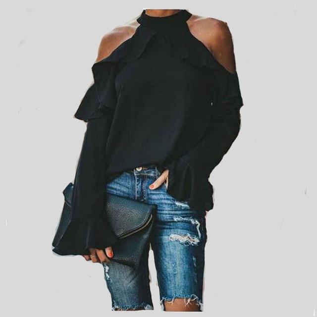 2019 automne femmes hauts et chemisiers élégant Flare à manches longues épaule froide chemises lâches mode décontracté haut chemise femmes grande taille