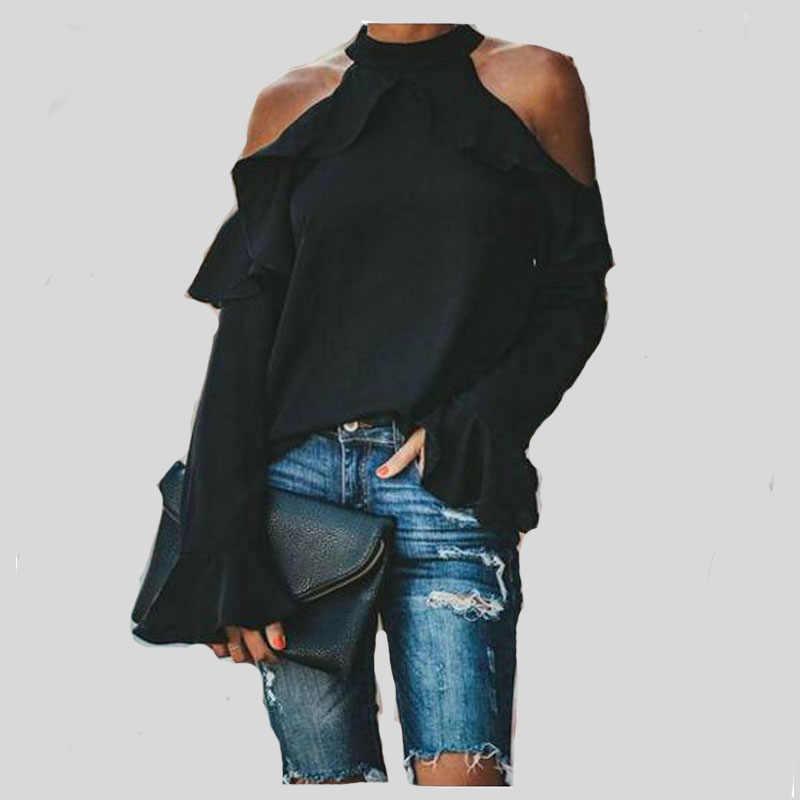 2019 ฤดูใบไม้ร่วงผู้หญิงเสื้อและเสื้อ Flare Long Sleeve ไหล่เย็นหลวมเสื้อแฟชั่น Casual Top เสื้อผู้หญิง Plus ขนาด