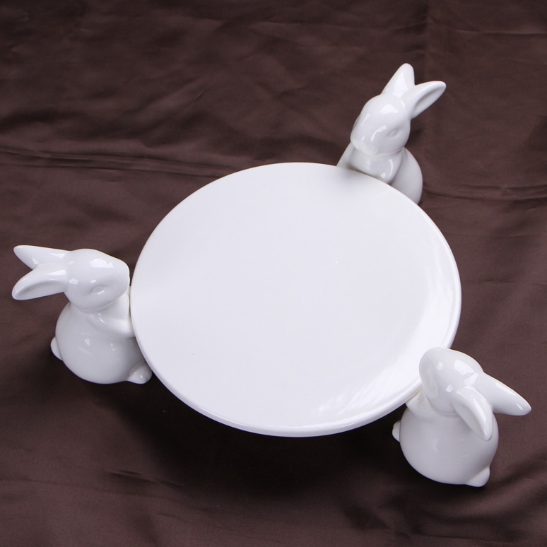 Decorative White Ceramic Bunny Rabbit Cake Stand