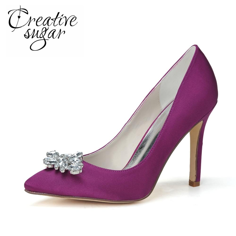 Creativesugar Woman Pointed Toe High Heels Crystal Charm