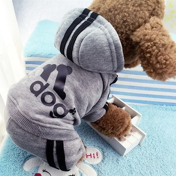 Autumn Warm Pet Dog Clothes Soft Cotton Four-legs Hoodies Outfit For Small Dogs Chihuahua Pug Sweater Clothing Puppy Coat Jacket image