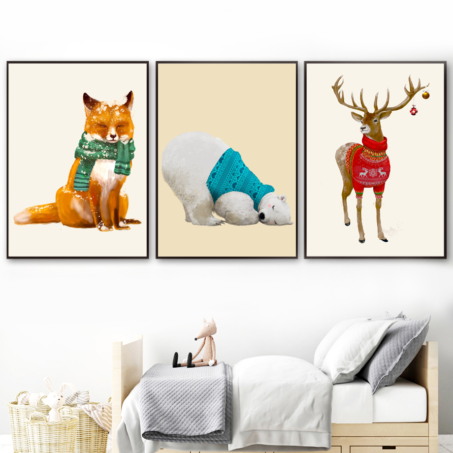 Watercolor Deer Fox Bear Nordic Posters And Prints Wall Art Canvas Painting Animal Pictures For Living Room Home Decor