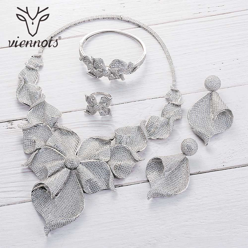 Viennois Gold / Silver / Mixed Color Necklace Set For Women Dangle Earrings Ring Bracelet Set Party Plant Jewelry Set 2019