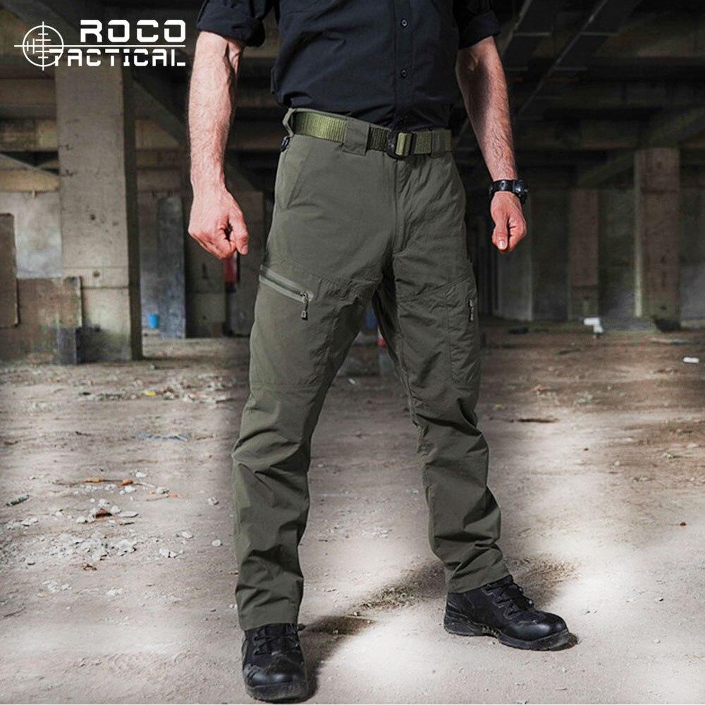 Mens Ripstop Pantalon Tactique Camping En Plein Air Eau Cartouches Remplaçables Pantalon de Randonnée Sports Urbains Pantalon Vert Armée