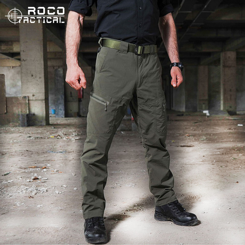 Mens Ripstop Tactical Pants Outdoor Camping Water Repllent Hiking Pants Urban Sports Trousers Army Green