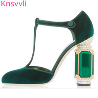 Knsvvli T belt crystal high heel shoes woman gemstone heel buckle banquet shoes women pumps green wine red velvet zapatos mujer