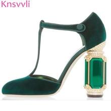 Knsvvli T belt crystal high heel gemstone velvet shoes