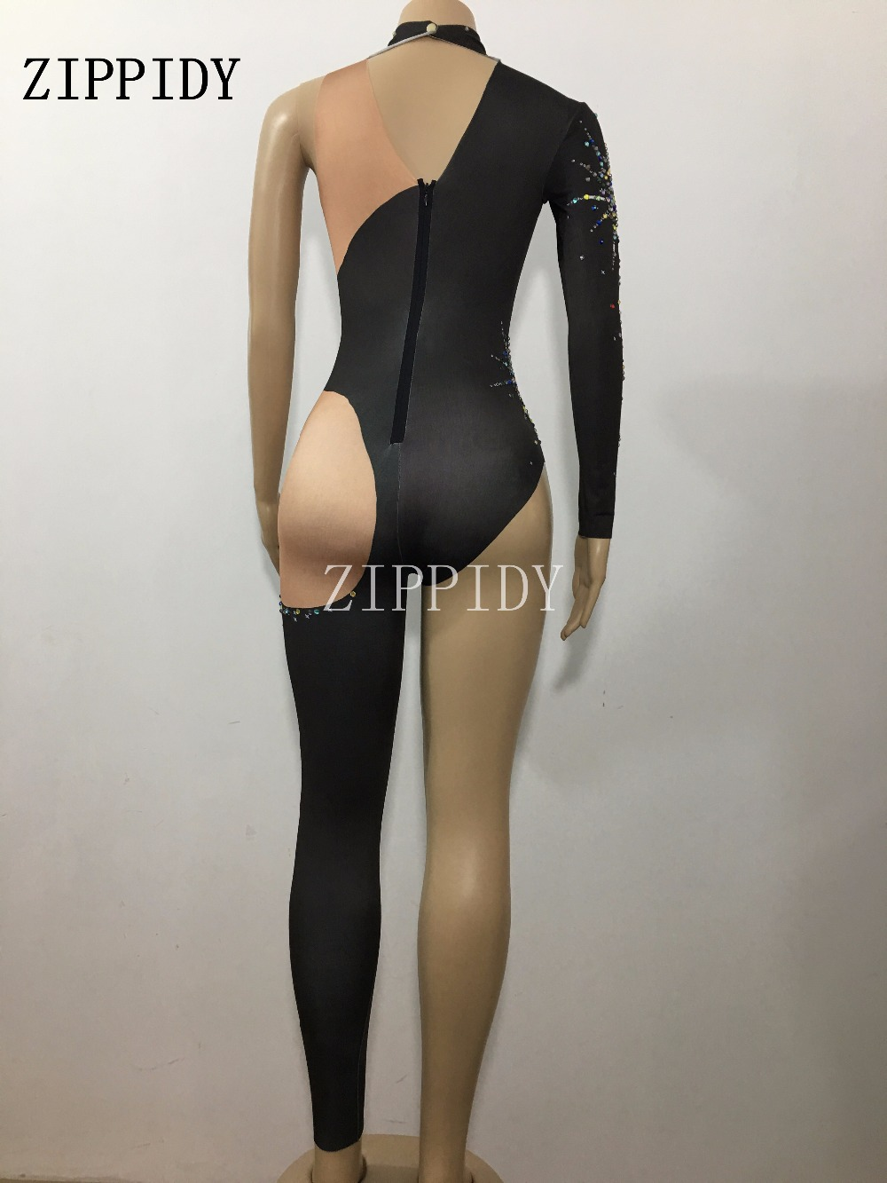 Black Fireworks Sparkly Single Leg Jumpsuit Female Singer Dancer Costume One-piece Bodysuit Nightclub Oufit Party Leggings