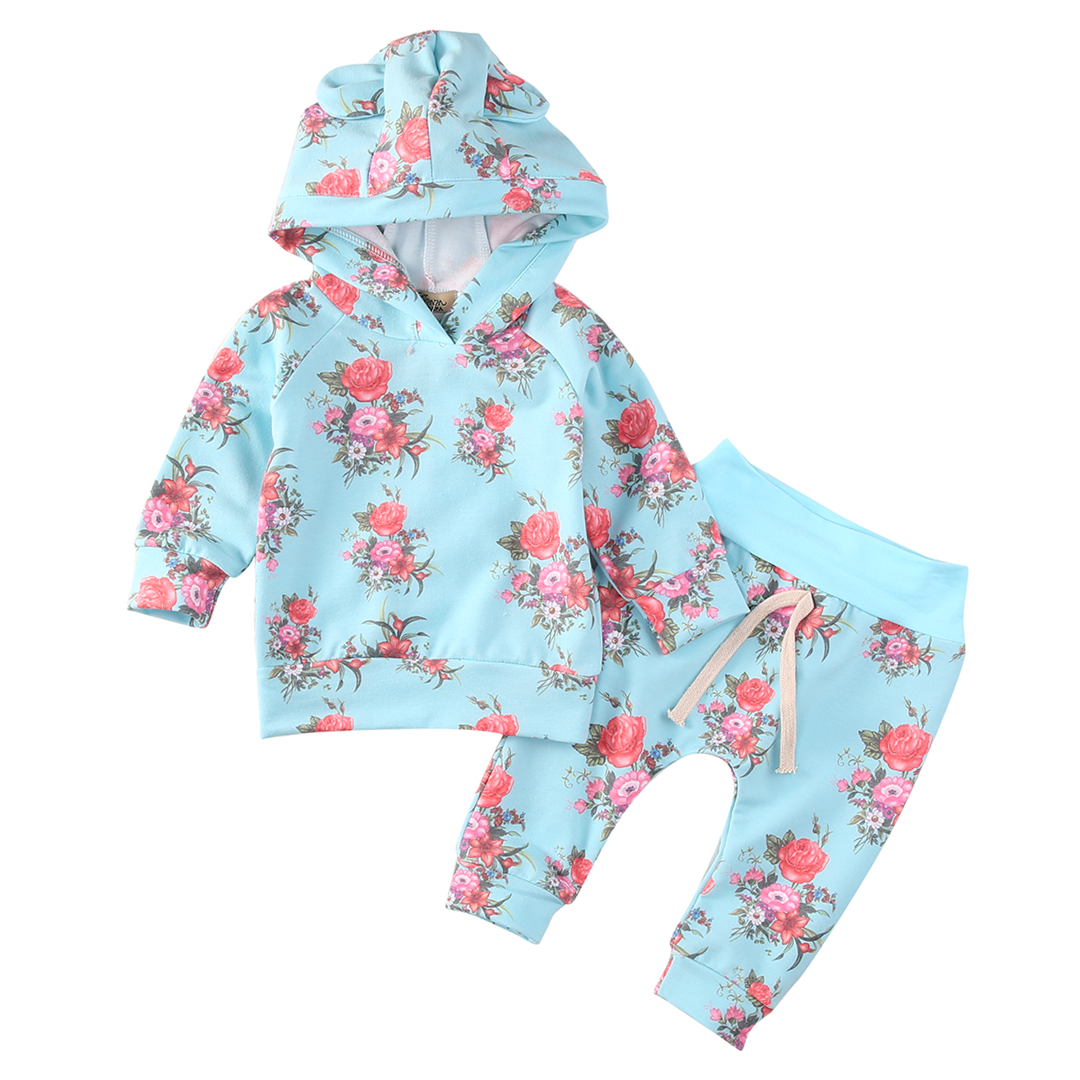 Floral Newborn Baby Girls Hoodie Tops + Pants Leggings 2Pcs Outfits Set Clothes