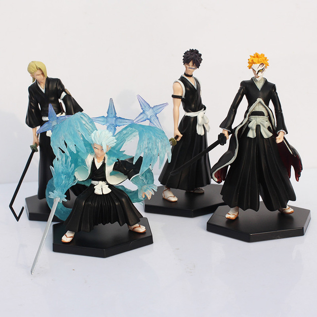 Anime Bleach Ichigo Toushirou Rangiku Sousuke PVC Action & Toy Figures 4pcs/lot 15cm