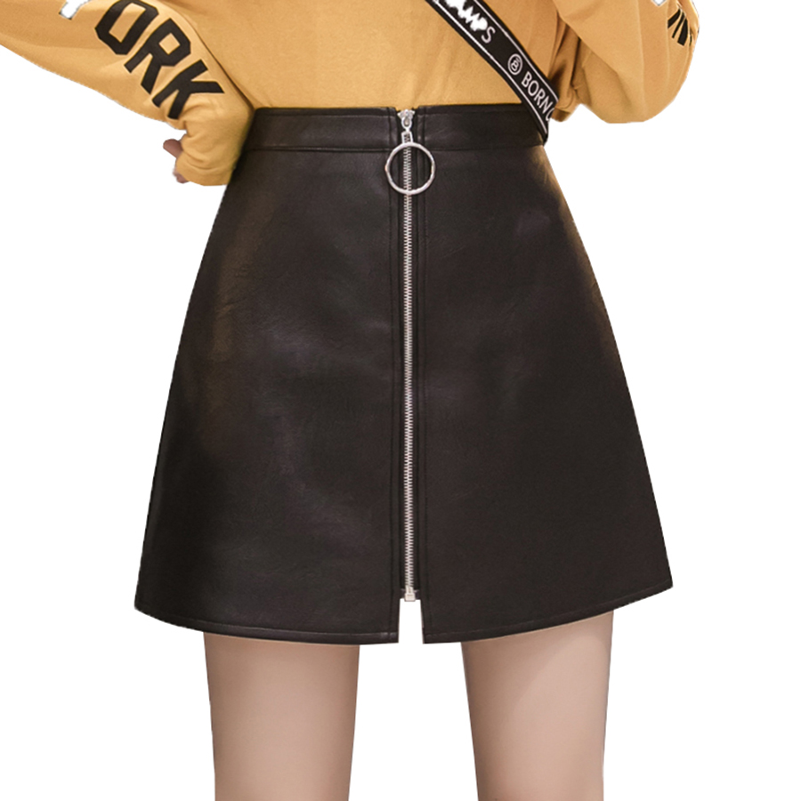 Leather Skirt Female 2019 Spring Autumn High Waisted PU Skirts Slim Women Skirt Streetwear Zipper A-Shaped Thin skirts Harajuku