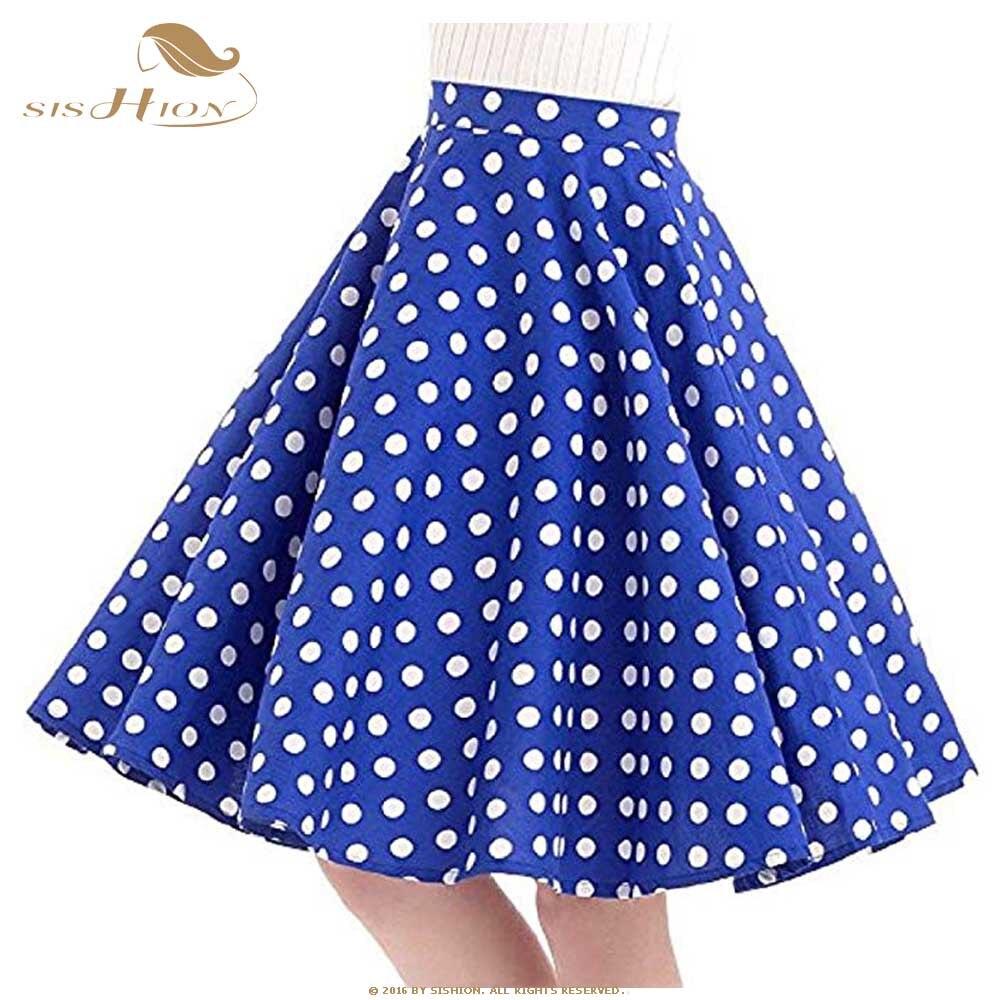 Image 5 - SISHION Women Skirt Blue Red Black White Polka Dot High Waist Vintage Skater faldas mujer Plus Size School Short Skirt VD0020-in Skirts from Women's Clothing